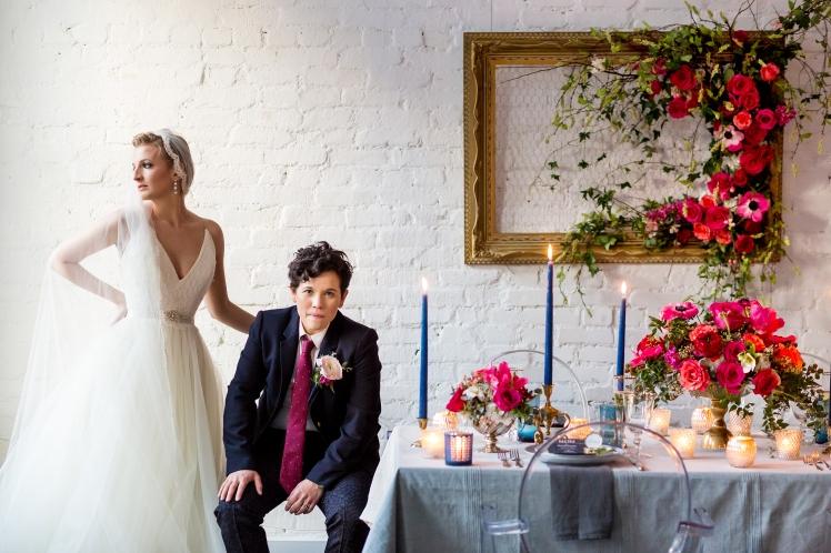 bright colorful modern wedding